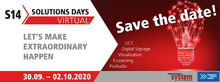 Save-the-date: S14 Solutions Days dieses Jahr virtuell vom 30.09.  02.10.2020